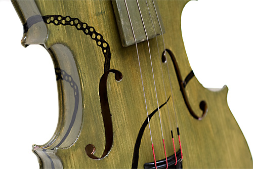 Detail of finished violin