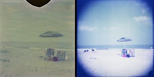 Same photo taken with Polaroid SX-70 (left) and Holgaroid (right)