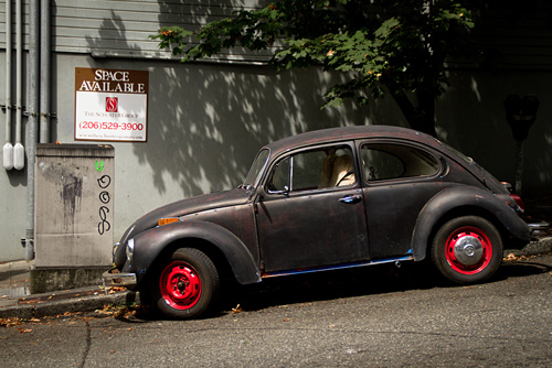 Not so shiny VW beetle in Seattle, WA