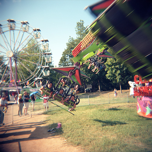 Vomit-inducing rides at the Arlington County Fair - Shot with the Holga on Kodak Ektacolor Pro 160 film