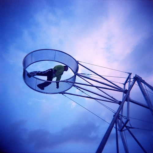 Acrobatics at the Arlington County Fair - Shot with the Holga on Kodak Ektacolor Pro 160 film