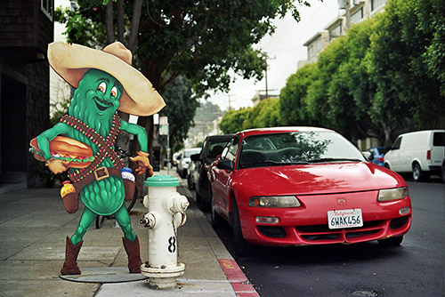 A pickle in a sombrero, San Francisco, CA - Shot with the Olympus Om-2n on Kodak 400 Gold 35mm film